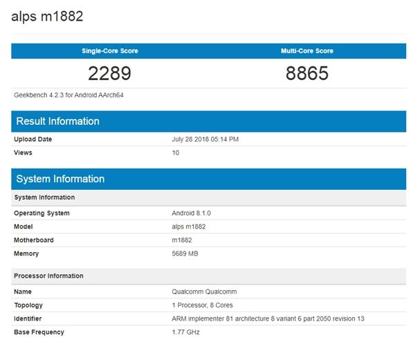 Смартфон Meizu 16 прошел тестирование в бенчмарке Geekbench