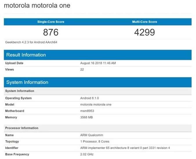 Еще не представленный Motorola One замечен в Geekbench