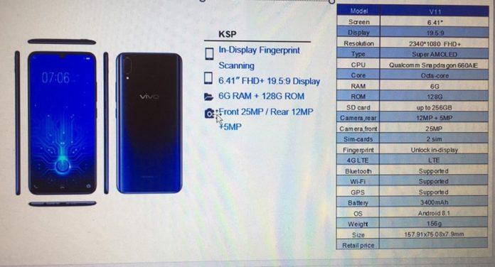 Опубликованы фото и характеристики смартфона Vivo V11
