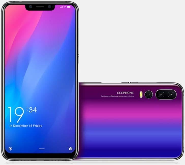 Смартфон Elephone A5 копирует дизайн Huawei P20 Pro