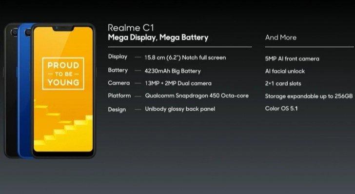 Представлен смартфон Realme C1 на чипе Snapdragon 450
