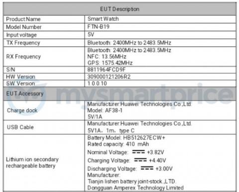 Информация о смарт-часах Huawei Watch GT появилась на сайте FCC