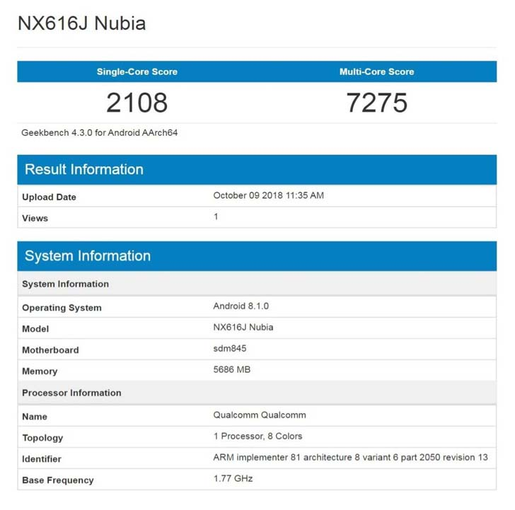 Основные характеристики Nubia X подтвердил Geekbench