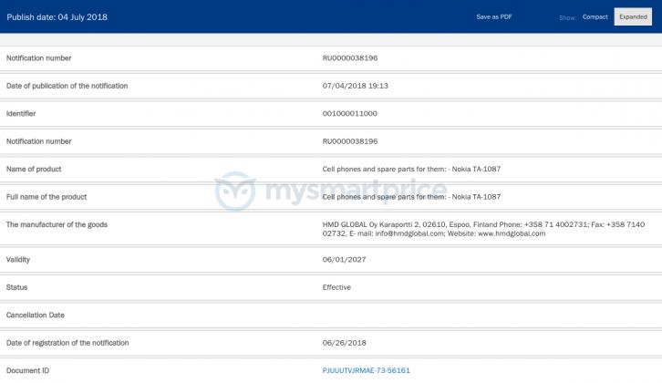 HMD Global готовится представить смартфон Nokia 8.1