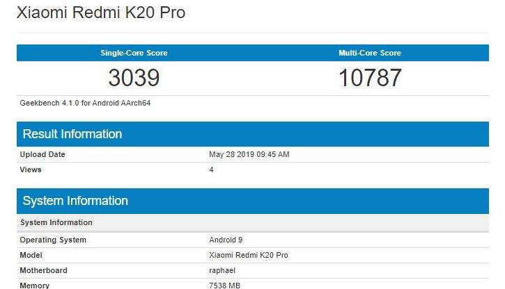 Производительность Redmi K20 Pro оценили в Geekbench