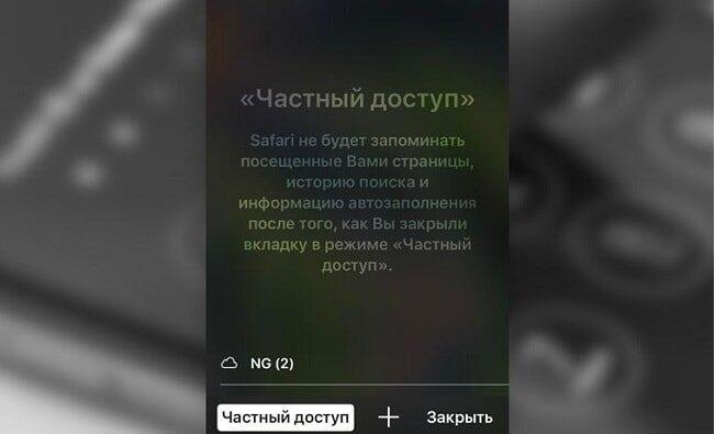 """Режим """"Частный доступ"""""""