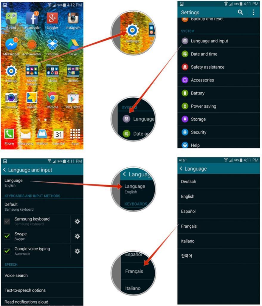 Как поменять язык интерфейса на Андроид