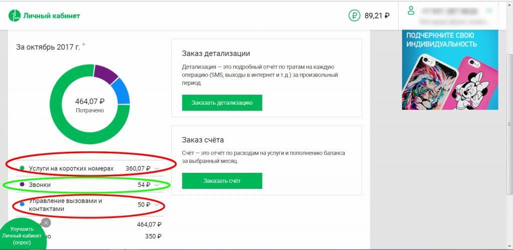 """""""Личный кабинет"""" на сайте """"Мегафона"""""""