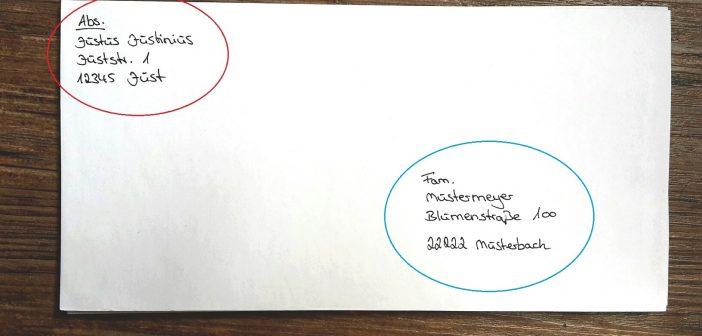 Пример заполнения письма