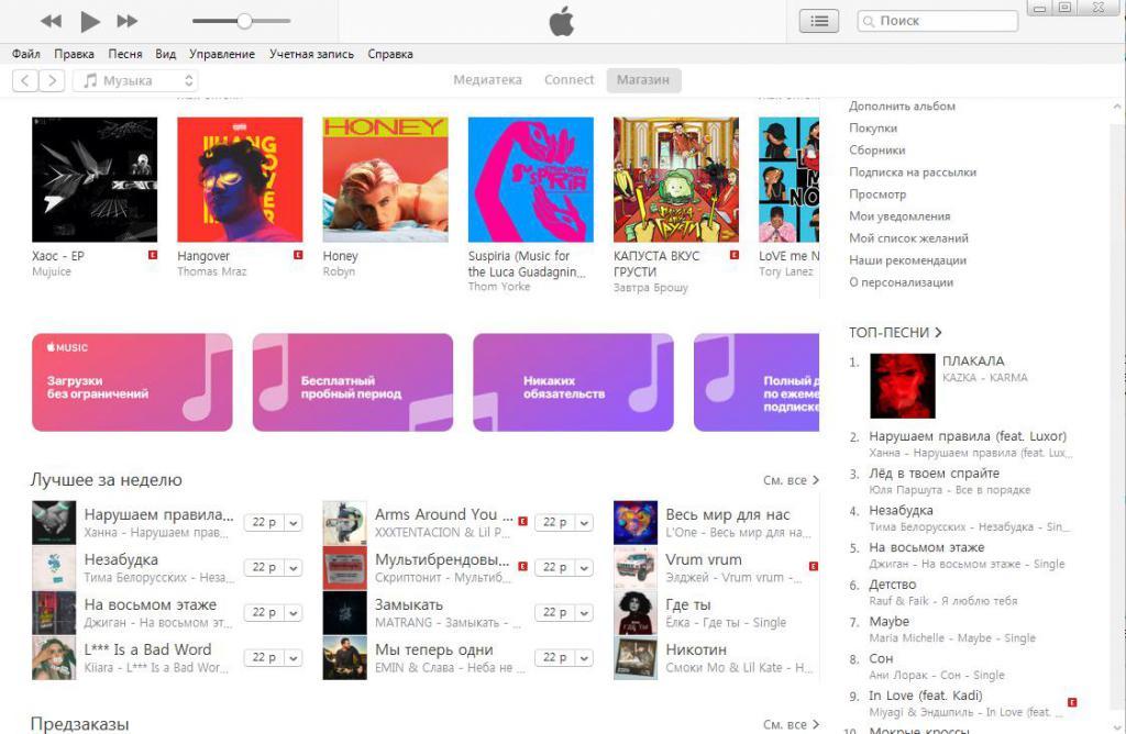 Каталог мелодий iTunes.