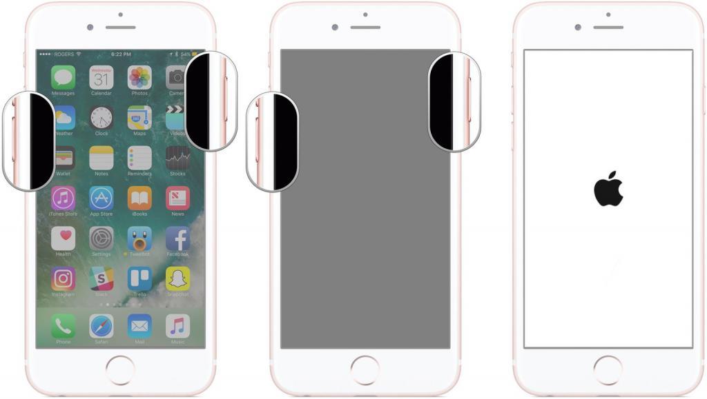 Как перезапустить айфон 7?